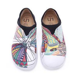 White women s canvas shoes slip on-line-UIN Entrega Gratuita Venda Quente das Mulheres Sapatos de Lona de Viagem de Bicicleta Branca Moda Arte Plana Loafer Sneaker s Slip-On Senhoras Loafer