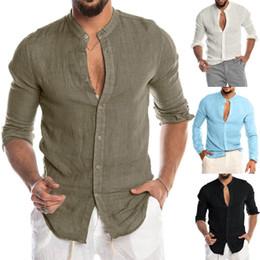 Chemise de plage en lin en Ligne-Bouton O-Neck Casual Mode hommes solides plage haut à manches longues Chemisier en coton lin Casual Slim Fit Baggy chemises en vrac blouse