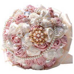 decoração de bola de rosa atacado Desconto Buquê de casamento flor rosa broche de cristal pérolas de seda flores de noiva