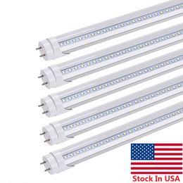 lastro de luz led Desconto Estoque Em EUA + T8 LED Tubos De Luz 4FT 22 W Dual-End Alimentado Fácil de Instalação de Remoção de Lastro Tubos de LED Branco Frio AC 85-265 V