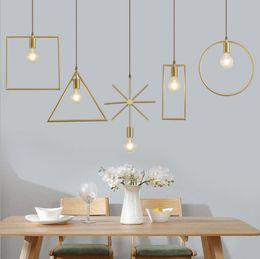 copper polygon Chandelier Nordic creative girl s heart bedroom bedside porch lamp children s window bar table lamp pure