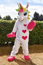 Disfraces para animales online-Unicornio traje de mascota Animal PONY traje de mascota corazón lindo impreso Desfile Payasos Cumpleaños para disfraces de Halloween