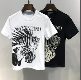 T-shirts pour hommes en Ligne-T-shirt d'été à la mode pour hommes, vêtements de marque, vêtements 100% coton T-shirt imprimé respirant et confortable pour hommes, 2 couleurs noir et blanc