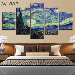 Pinturas de noite estrelado on-line-Decoração de Interiores Noite Estrelada Animação Interativa Pinturas A Óleo Da Lona 5 Peça Pintura de Parede Na Arte Imagens Imagens Sem Moldura