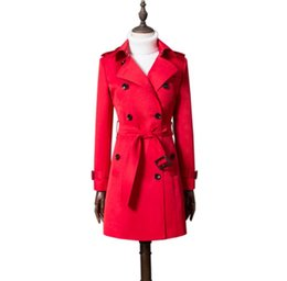 Argentina Señoras de primavera europea gabardina para mujer abrigos de manga larga para mujer ropa de longitud media casaco feminino abrigo mujer rojo supplier coat sleeve length Suministro