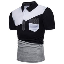 Polo del collare del basamento online-Polo Homme colletto in tinta unita irregolare colore colletto in cotone traspirante comodo da indossare camicia manica corta da uomo Polo