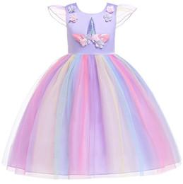 17c16bc95709 2019 vestito dal merletto della principessa del progettista bambini  Unicorno vestito ragazze pizzo abito senza maniche