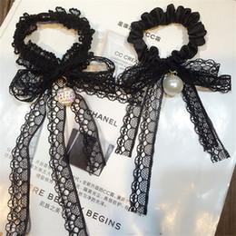 i capelli piegano perline Sconti Lace Headwear Strass Beads Ornaments Black Lace Bow Tie Fasce elastiche per capelli Headwear Hair Circle per le donne Accessori donna