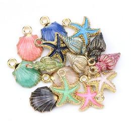 2019 artesanato diy shell 15 pcs coloful estrela do mar shell concha mar esmalte encantos diy pulseira colar brinco jóias acessório diy craft artesanato diy shell barato