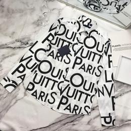 2019 рубашка для галактики с воротником 19ss Vuittton Shirt All Logo Печать Galaxy Унисекс Мужчины Женщины Свободная Рубашка Мода Высочайшее Качество Рубашка Черный Белый Hflscs019 дешево рубашка для галактики с воротником