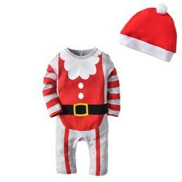 onesies da luva do natal Desconto Outono Infantil Baby algodão de alta qualidade tecido de manga longa chapéu de duas peças estilo de Natal do Dia Das Bruxas Vermelho sair macacões do bebê