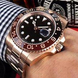 rose v3 Desconto New Rose ouro GMT2 Listado V3 Versão Batman mens watch movimento automático Cerâmica Rotativa Bezel vidro de safira pulseira de relógio de pulso 000