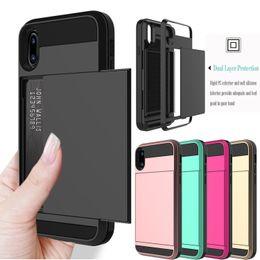 Caso huawei p8 plus online-Armadura de servicio pesado con ranura para tarjeta deslizante Monedero a prueba de choques Cubierta de la caja del teléfono para iPhone 7 8 Plus XR XS MAX Samsung S7 S8 S9 Huawei P8 Mate7