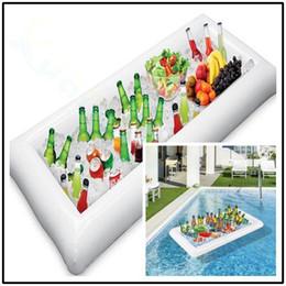Decorações de festa para piscina on-line-Buffet de salada de bar inflável balde de gelo taça titular bebida piscina de banho Flutuante fileira brinquedo decoração do partido barra coasters