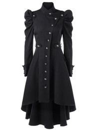 green jacket costumes Promo Codes - Women Steampunk Gothic Winter Coats Long Sleeve Jacket with hat Cosplay Costume Black Coat Medieval Noble Court Princess Outwear