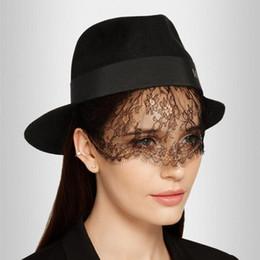 81d7122e5d6 Winter Woolen Fedora Hats Women Vintage Lace Sexy Elegant Formal Party  Accessories Letter Stylish Ladies Plain Black Bowler Hat