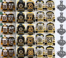 2019 Taça Stanley Boston Bruins # 37 Patrice Zdeno Chara Brad Marchand Rask Pastrnak Krug McAvoy DeBrusk Krejci Camisola De Hóquei de