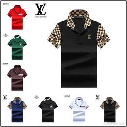 Ajuste clásico de polo online-Moda popular Eagle bordado Classic Fit Golf polos de los hombres de diseño personalizado hombres casual mezcla de algodón de los hombres Tee polos tamaño S