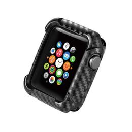 Protector de pantalla de fibra de carbono al por mayor online-Venta al por mayor TPU Watch Case para Apple Watch Carbon Fiber para IWatch Protective Frame Cases Screen Bumper Protector para Smart Watch