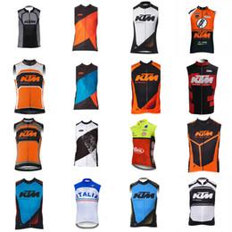 equipo chaleco ciclismo Rebajas Italia KTM team Ciclismo sin mangas jersey Chaleco de moda de verano transpirable a prueba de viento deportes bicicleta de montaña S51521
