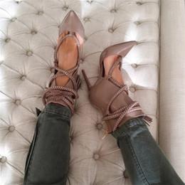 bottes sexy à lanières Promotion 2019 nouveaux talons hauts bottines femmes conception été bout pointu chaussures à lanières femme sexy dames zipper gladiateur sandales bottes