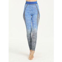 Pantaloni felpa elastica alla caviglia online-Pantaloni da yoga donna taglia unica blu yoga legging in esecuzione di cotone vita elastica a vita alta dimagrisce leggings pantaloni della tuta alla caviglia