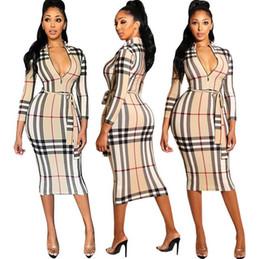 Vestiti di affari delle donne online-2018 nuove donne vestono estate o collo vestiti del progettista di modo di affari del partito del plaid del manicotto del tre quarti del manicotto del collo