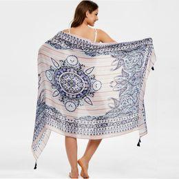 traje de baño hippie Rebajas playa bikini encubrimiento Hippie Flores Imprimir Mujeres Bohemia Chiffon Trajes de baño Pareo Bufanda Beach Cover Up Wrap Kaftan Sarong d90705