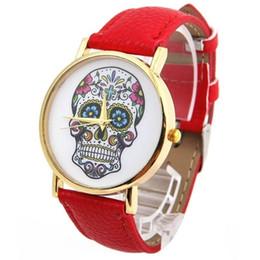 2019 relógios vintage para meninas New Top Crânio Mulheres Relógio Mexicano Catrina Flores Cruz Pu relógio de pulso de Couro Menina Moda Vintage estilo de Genebra casual Reloj relógios vintage para meninas barato