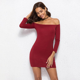 31e7c19e3b89 Wine Red Women Dress Slash Neck Off the Shoulder Solid High Waist Bodycon  Pencil Long Sleeve Autumn New Women Mini Dress Vestido