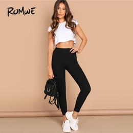 Calças longas de comprimento do tornozelo de algodão on-line-Romwe esporte preto de cintura alta de algodão mulheres calças de yoga 2019 primavera novo elástico simples de fitness fino tornozelo-comprimento leggings calças justas # 823327