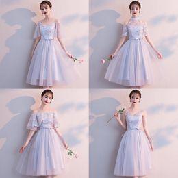 Robes de demoiselles d'honneur coréens en Ligne-Robe demoiselle d'honneur complète coréenne robe grise demoiselle d'honneur servir groupe de soeurs longue fête réunion petite