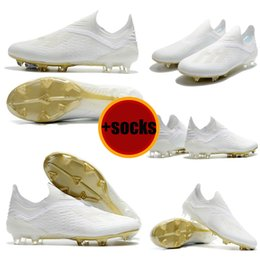 White Gold Messi Original Fußballschuhe Laceless X 18 FG Männer Fußball Schuhe Pogba Plating Sohlen Outdoor Top Qaulity Fußballschuh