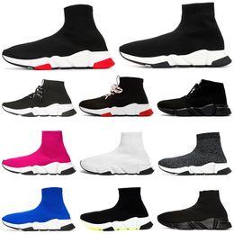 zapatos casuales para hombre Rebajas Nueva moda de diseño de bota de lujo para mujeres hombres Speed Trainer off Red Triple Black Flat zapatos casuales Calcetines Botas para hombre Sneaker envío de la gota