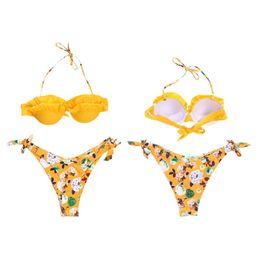 8321bd4aa Women Sexy Two-Piece Bikini Set Halter Neck Tiered Ruffles Padded Bra  Swimsuit Low Waist Tie Knot Side Bohemian Floral Printed B cheap bohemian  swimsuits