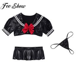 Costume scolastico marinaio online-Donne Sexy Cosplay per adulti in pelle PU Sailor School Costumes School Girls gioco di ruolo con slip bikini per indumenti da notte Clubwear