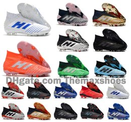 Золотые футбольные бутсы онлайн-2019 Hot Predator 19+ 19.1 FG PP Paul Pogba 25th Virtuso Golden Mens Boys Футбол Футбол Обувь 19 + x Бутсы Ботинки Дешевый Размер 39-45