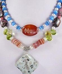 Collar blanco del encanto del coral online-collar encantador! 2Hilos White PearlCrystalOpalAgateCoral Necklace