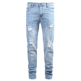 Мужские белые брюки онлайн-Men Clothes 2019 Hip Hop Sweatpants Skinny Motorcycle Denim Pants Zipper Designer White Jeans Mens Casual Men Jeans Trousers
