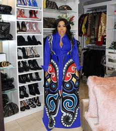 2019 maxi blouses Newon Papillon Imprimé Chemise Décontractée Robe Femmes Bouton À Manches Longues Fit Et Flare Maxi Robe Printemps De La Mode Blouse Robe promotion maxi blouses