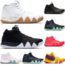 rugby charms Coupons - Kyrie IV Green Lucky Charms Mens 2019 All New Basketball Shoes Triple Black Oreo Red Carpet Lrving 4 Sports Training Sneakers Size 40-46