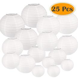 2019 lanterne di carta decorazione bianca 25 Pz / set Bianco Con Dimensioni Assortite Lanterne Rotonde Carta Cinese Festa di Nozze Lampion Hanging Decor Favor Q190611 lanterne di carta decorazione bianca economici