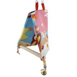 Tela di canapa doppia online-Parrot Swing Nest Open Nest Parrot Platform Uccelli Articoli Double-deck Canvas Triangle Cotton Wo