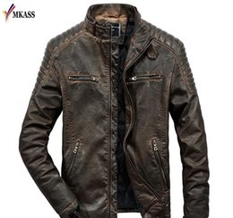 Cappotti di capre online-Giacca in pelle di nuovo autunno della molla uomini reale genuina delle pecore di capra della pelle di marca Black Male Bomber Motociclista Man s Coat