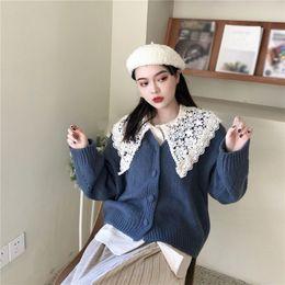 8dcf493b13 Autumn Winter Knitted Cardigans Coat Button Women Fashion Long Sleeve  Sweater Coat Loose Warm Short Outwear