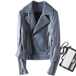 Новая Мода Осень 100% Натуральная Кожа Куртка Женщины Короткие Леди Натуральная Кожа Куртки Мотоцикл Овчины Пальто Верхняя Одежда Z422 supplier ladies sheepskin coats jackets от Поставщики дамская овчина пальто куртки