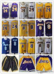 short de basket kobe Promotion Hommes Los AngelesLakers Kobe 24Bryant 8 KobeBryant Basketball Shorts Basketball Jersey City jaune violetÉdition