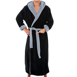 Men Winter Extra Long Bathrobe Mens Warm Flannel Long Kimono Bath Robe Coat Male  Bathrobes Night Dressing Gown Home Clothes  45B C18122801 475835721