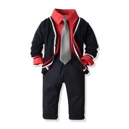 cardigan con cintura nera Sconti 2-6 anni Abbigliamento bambino Gentleman Abbigliamento ragazzo Maglione cardigan nero + Camicia rossa + Pantaloni + Cintura Set 5 pezzi Abiti da bambino Festa di compleanno