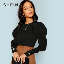 8304602b6ec583 SHEIN Black Elegant Office Lady Puff Sleeve With Button Detail Long Sleeve  Solid Tee 2018 Autumn Workwear Women Tops And T shirt